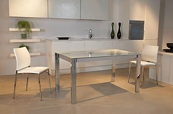tavolo allungabile hector140 struttura+gambe cromo piano in vetro ...