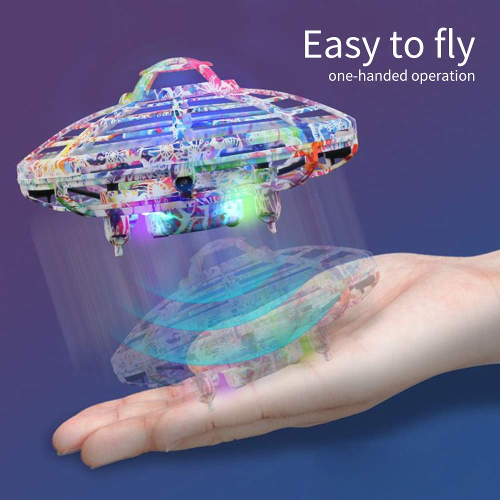 LOKMAT Drones for Kids, Hand-Controlled Suspension Mini Helicopter Drone,Infrared Induction Interactive Drone Flyer Toys with 360° Rotating and LED Lights, Flying Toys for Boys Girls (Multicolor) by LOKMAT (Image #4)
