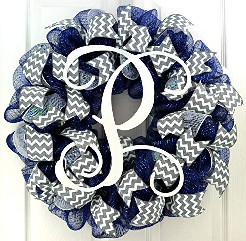 Navy Blue Grey White Chevron Vine Monogram Initial Letter Everyday Mesh Door Wreath - LOTS OF COLORS (Christmas Grey Blue Decorations)