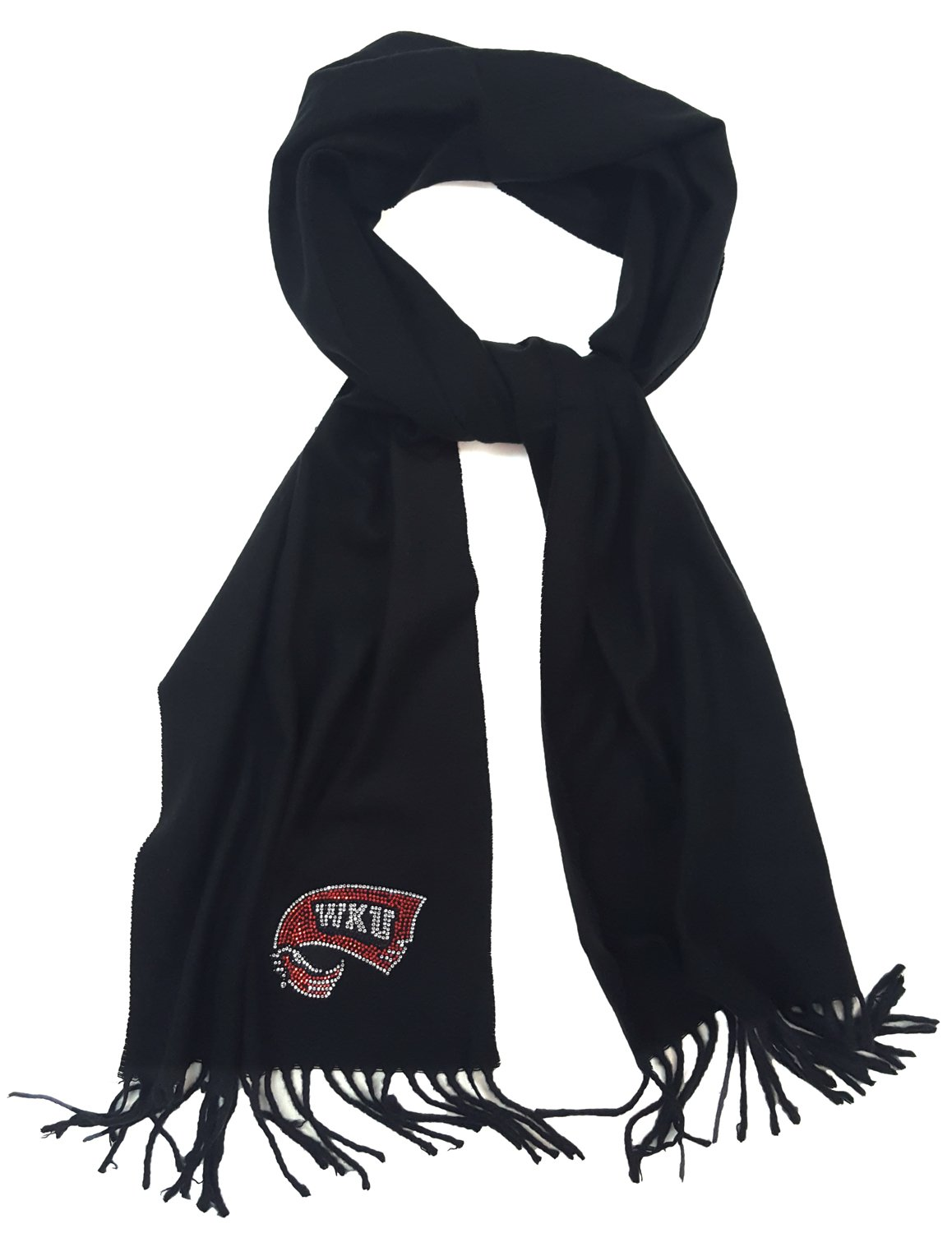 Nitro USA Fringed Cashmere Feel Scarf with Small WKU Towel, One Size, Black