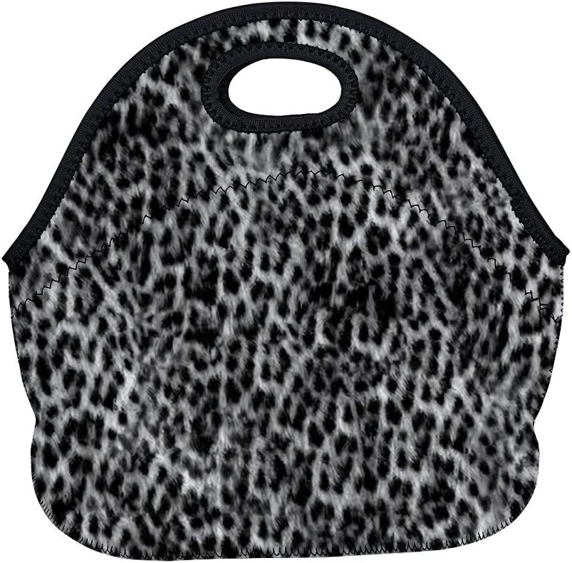 Cheetah Fur Texture Black and White up Neoprene Lunch Tote Insulated Reusable Picnic Lunch Bags Boxes for Women, Men and Kids Mom Bag Tote Bag for Work Office Picnic