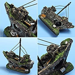 Bestgle Aquarium Ornament Wreck Sailing Fish Boat Sunk Ship Destroyer Fish Tank Decorations Resin