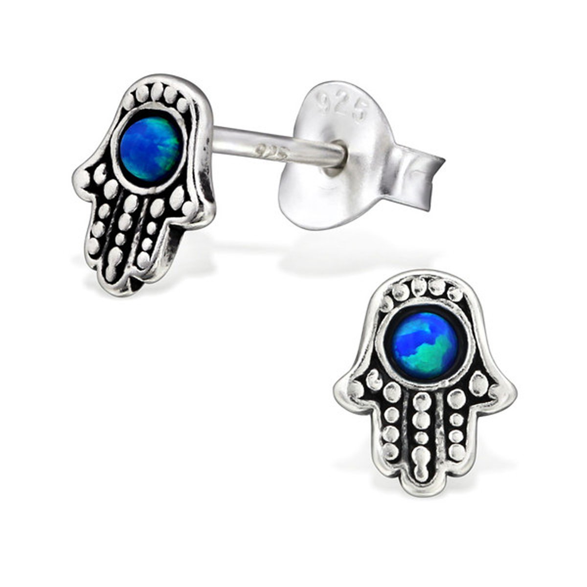 Small Hamsa Hand Blue Synthetic Opal Silver Studs Earrings Chamsa Antique Style Stering Silver 925 Post Studs (29623 Pacific Blue 5x6 mm)