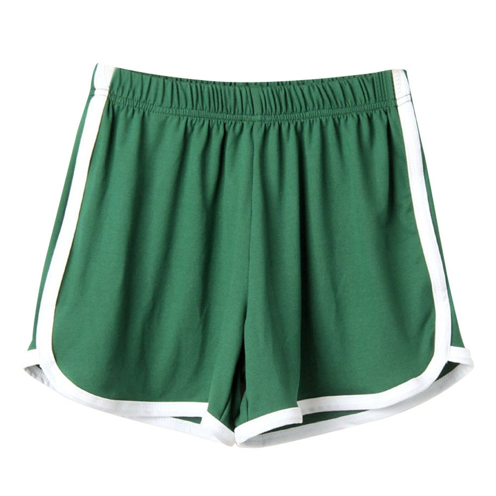 Women's Super Comfy Mid-Rise Linen Shorts, Summer Pants Sports Shorts Gym Workout Waistband Skinny Yoga Short Green
