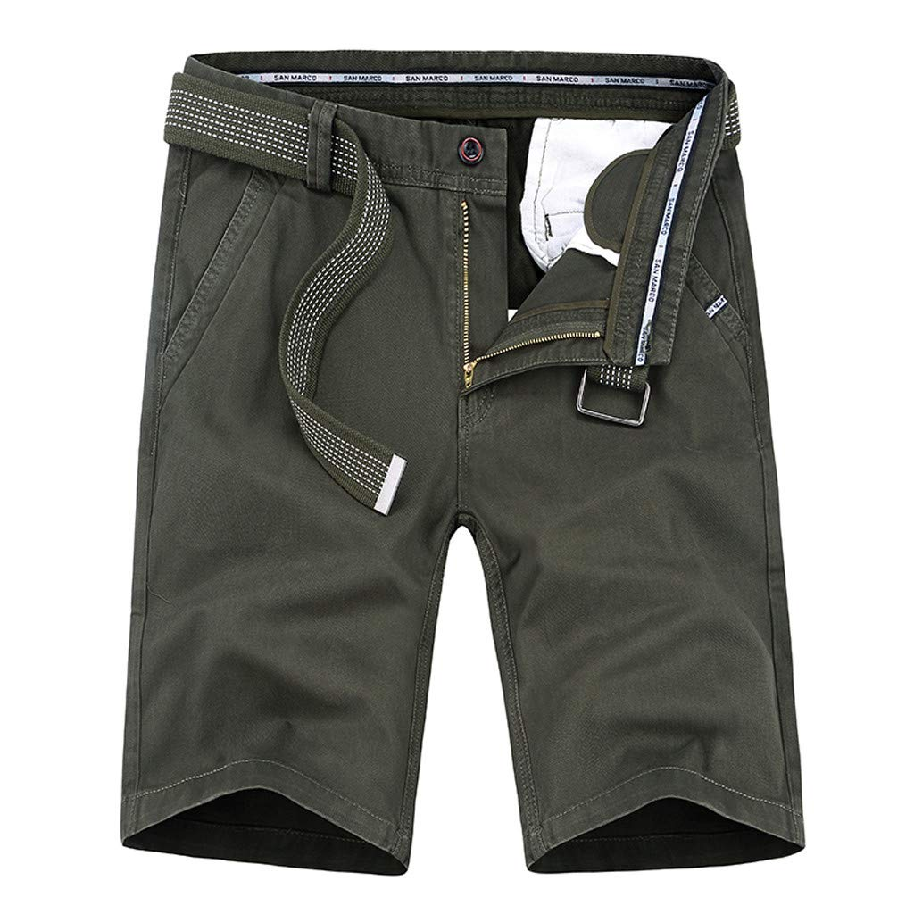 Ninasill Hot!Men's Zippered Tooling Shorts Solid Color with Belt with Pocket Sports Shorts Large Size Casual Beach Shorts Army Green