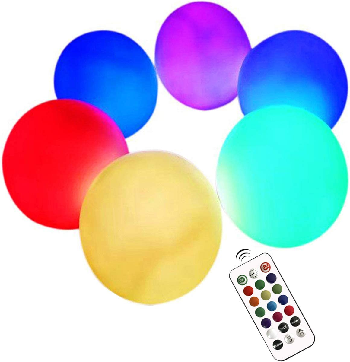 LED Ball Light 3-inch Waterproof Floating Pool Lights, 6 Pack Color Changing Mood Light Garden Decorative Orb Balls, Light Up Centerpiece Ball Lamps Nightlights for Christmas Indoor Outdoor Decoration