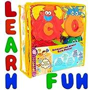 Foam Bath Toys Alphabet – Best Baby Bath Toys For Toddlers Kids Girls Boys - Non Toxic Letters Animals Bath Toy Set-Safe - Preschool Educational Floating Bathtub Toys - One of the Biggest BathTub Toys