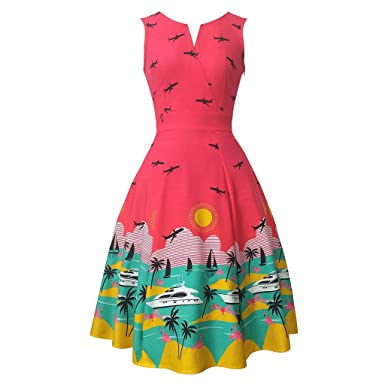Red Vintage Dress A-Line Short Sleeve Cute Summer Vintage Dress For Women Sexy Party