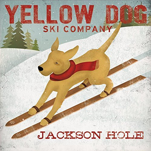 Buyartforless Yellow Dog Ski Company Jackson Hole Yellow Labradors by Ryan Fowler 12x12 Sking Signs Dogs Labrador Animals Art Print Poster Vintage Advertising