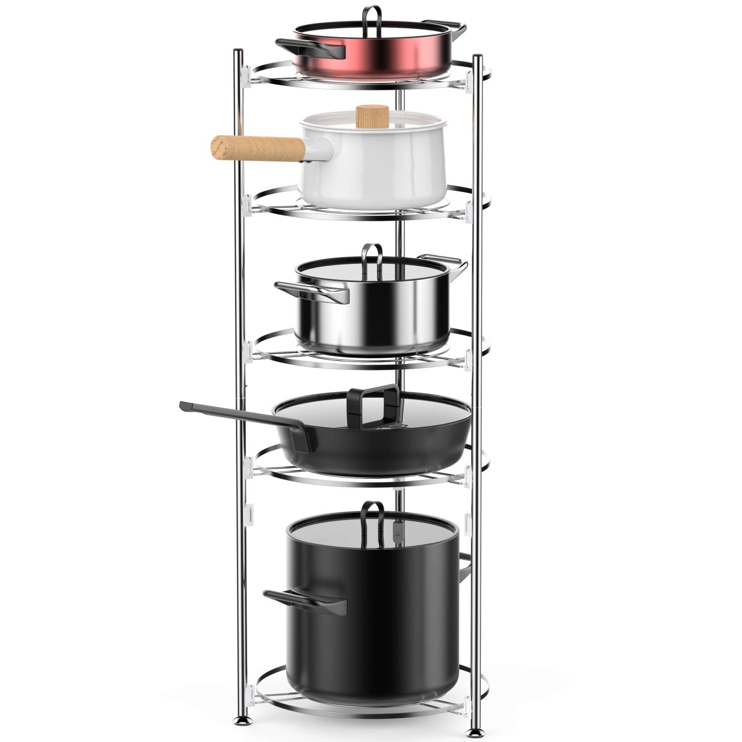 5 Tiers Cookware Stand, iSPECLE Kitchen Free Standing Rack Organizer for Pan and Pot, Easy to Install without Tool, Stainless Steel, Silver
