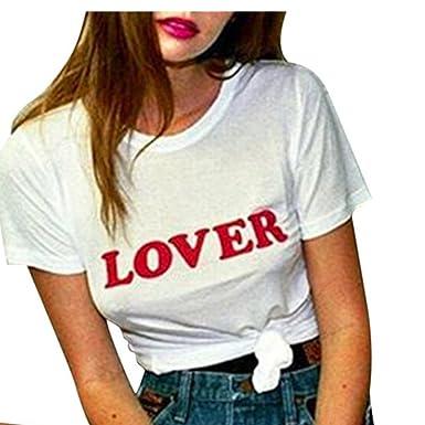 T-Shirt 2018 Damen, Damen Modisch Kurzarmshirt Sommer Top mitLover Print- Shirts Frauen Casual Basic Shirts Rundhalsshirts Weißes T-Shirt Vorne  Streetstyle ... db6be4d3c7