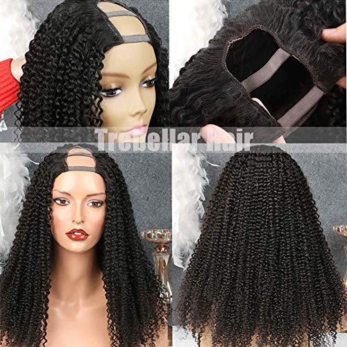 9A U part Wigs Human Hair for Black Women 150% Density Deep Curly Human Hair Wig 2X4 U Part Cap Brazilian Human Hair Wigs Kinky Wave Hair Natural Color 16