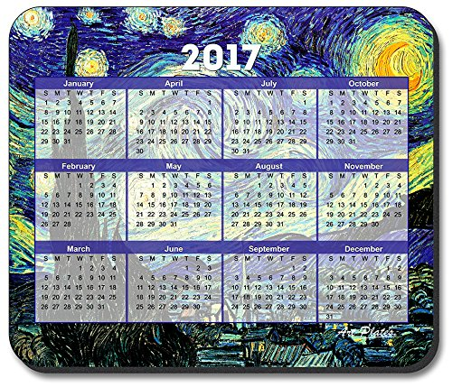 Art Plates brand - Van Gogh Starry Night Mouse Pad - with 2017 Calendar