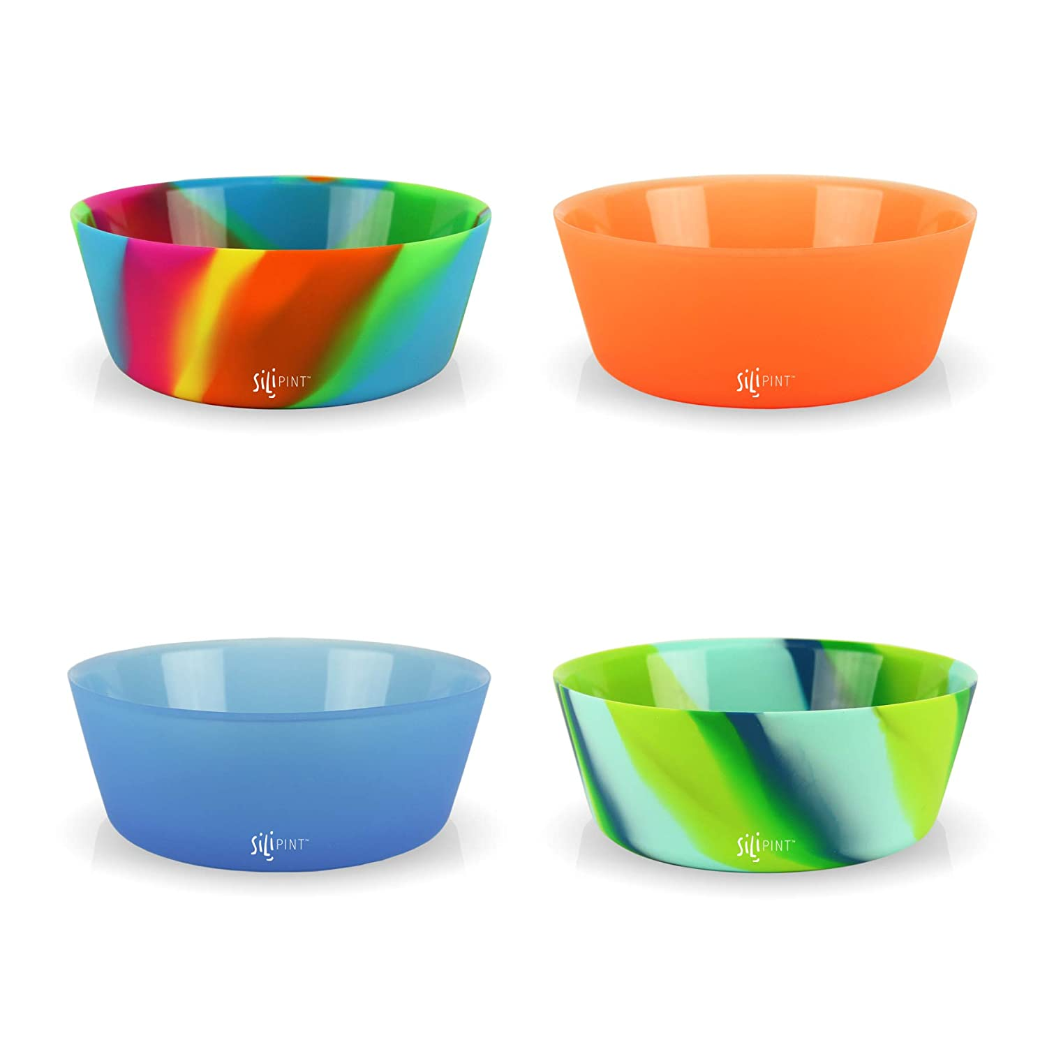 Silipint Silicone Bowl Set, BPA-Free, Unbreakable, Flexible, Microwave Safe, Oven Safe, BBQ Safe, Indoor and Outdoor Use
