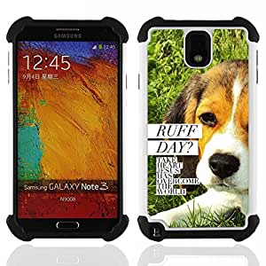 GIFT CHOICE / Defensor Cubierta de protección completa Flexible TPU Silicona + Duro PC Estuche protector Cáscara Funda Caso / Combo Case for Samsung Galaxy Note 3 III N9000 N9002 N9005 // BIBLE Ruff Day Jesus Dog //