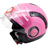 STUDDS Nano 560 Polyurethane and Thermoplastic Open Face Helmet, Small (Black and Pink, STDNANO560_BLKPNK-01)