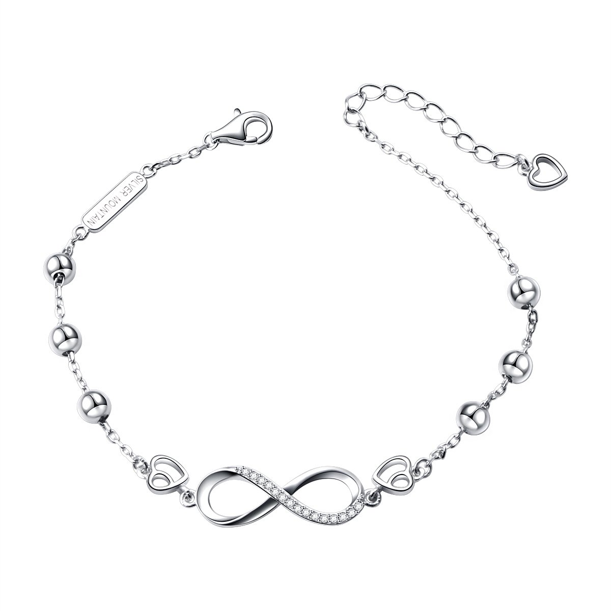 SILVER MOUNTAIN S925 Sterling Silver Infinity with Beads Adjustable Bracelet