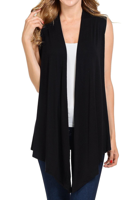 Black Shamaim Womens Sleeveless Open Fron Soft Drape Cardigan.