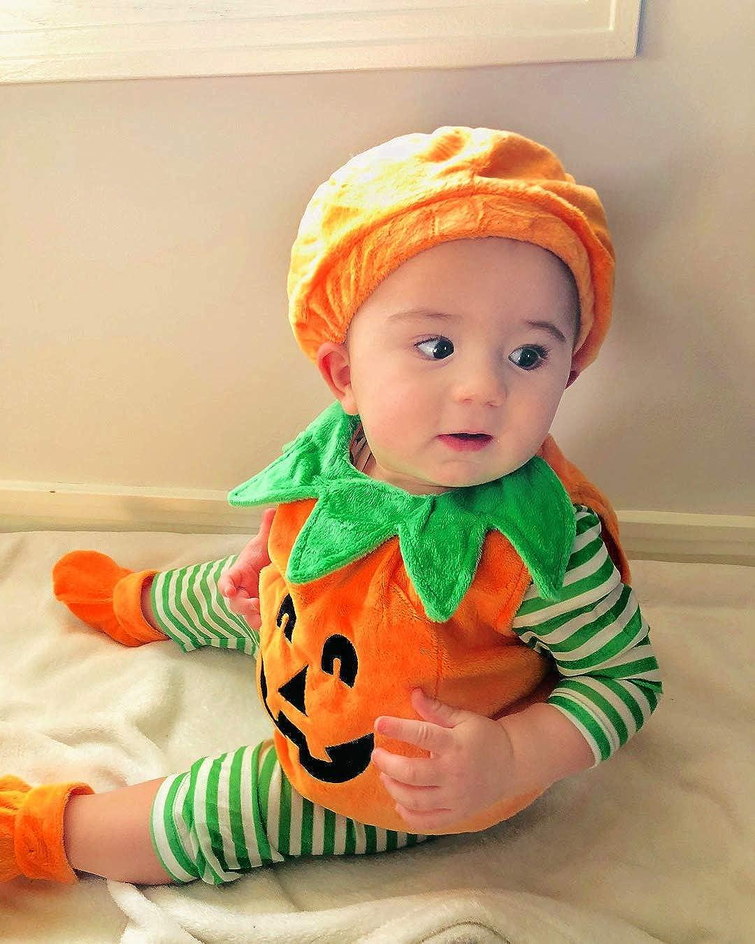 VISGOGO Baby Boy Girl Halloween Pumpkin Romper Bodysuit+Hat+Shoes 3PCS Outfit Costumes