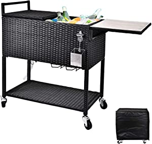 RELAXIXI 80 Quart Rattan Rolling Cooler Cart, Portable Wicker Cooler Trolley, Beverage for Patio Pool Party, Ice Chest with Cutting Board, Bottle Opener, Cap Catch and Cover (Dual Top - Black)