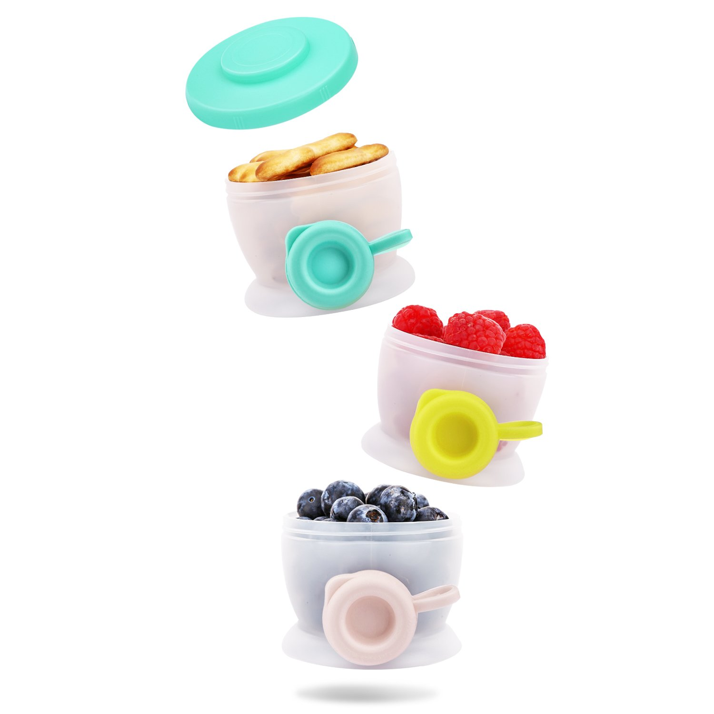 sin BPA para Viajes Multicolor 3 Compartimientos F/órmula Zooawa Dispensador de Leche en Polvo y Contenedores de Almacenamiento