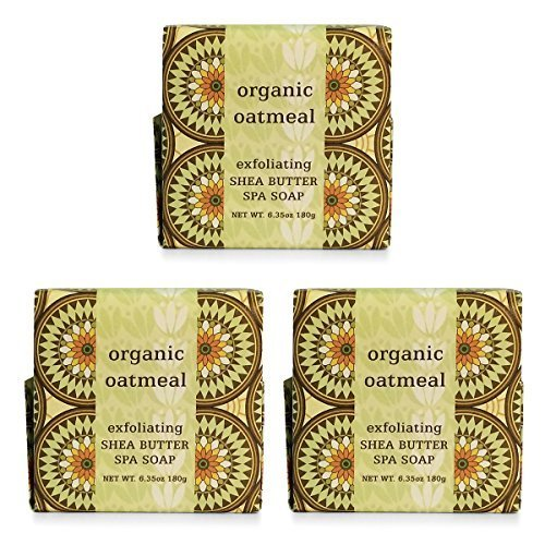 Greenwich Bay ORGANIC OATMEAL Exfoliating Spa Soap, Enriched with Shea Butter and Cocoa Butter. Blended with Organic Oatmeal, No Parabens, No Sulfates…