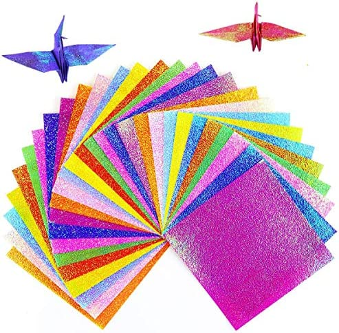 120 sheets Bright Colors Rainbow Origami Square Paper Pack for Origami Paper Project