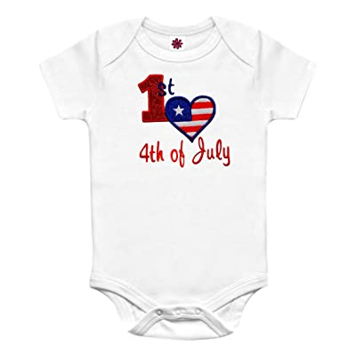 Funny Girl Designs My First 4th Of July Glitter Embroidered Onesie