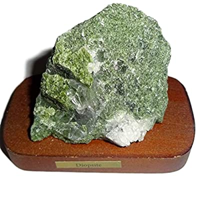 1pc Diopside Raw Natural Rough / Crystal Healing Gemstone Collectible Display Specimen on Wood Base Stand: Toys & Games [5Bkhe1804004]