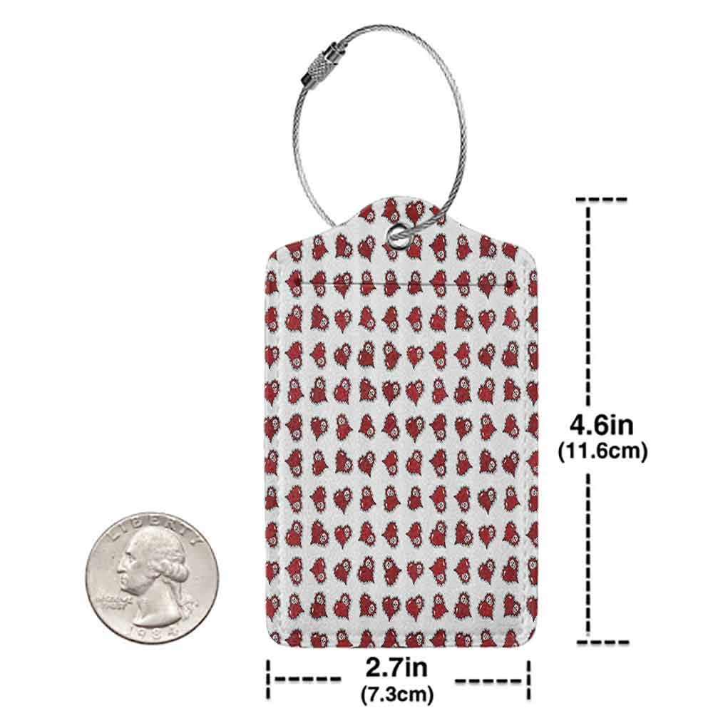Soft luggage tag Skulls Decorations Skeleton Patterns In Ornate Red Hearts Bendable W2.7 x L4.6