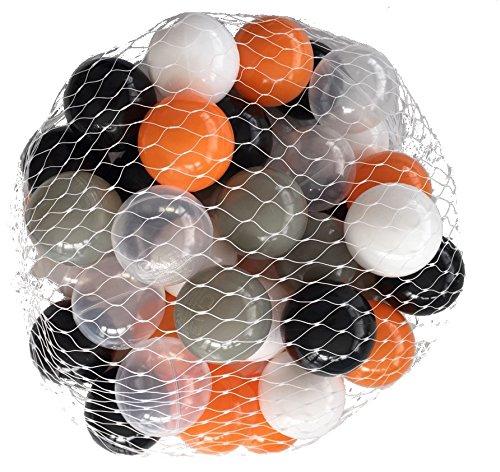 1000 Bälle für Bällebad mix Orange gemischt mit grau, schwarz, weiß und transparent