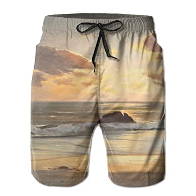 2331b78268 Beach Sunset Sea Reef Men's Quick Dry Beach Shorts Swimwear Board Shorts  with Pocket at Amazon Men's Clothing store: