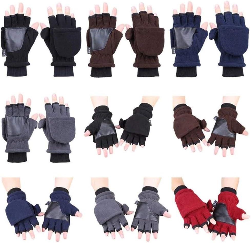Color : A Black Women Men Winter Polar Fleece Half Finger Flip Gloves Double Layer Thicken Touch Screen Fingerless Convertible Mittens Wrist Men
