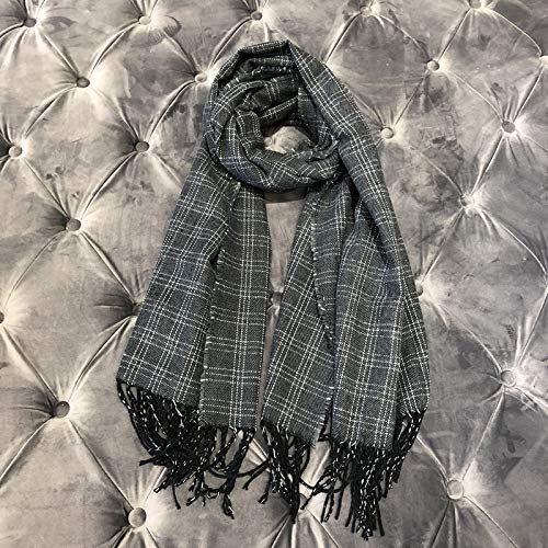 Grey Scarf for Gift Fringed Scarf Plaid Casual Style Classic Thick Shawl Couple Autumn and Winter Wild Dualuse Female (color   White) Classic Scarf (color   Black)