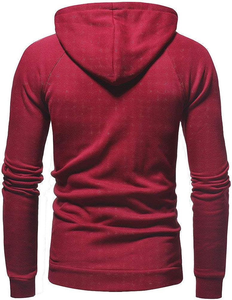 jin&Co Hooded Sweatshirts Men Classic Drawstring Zipper Solid Color Casual Hoodies Jacket