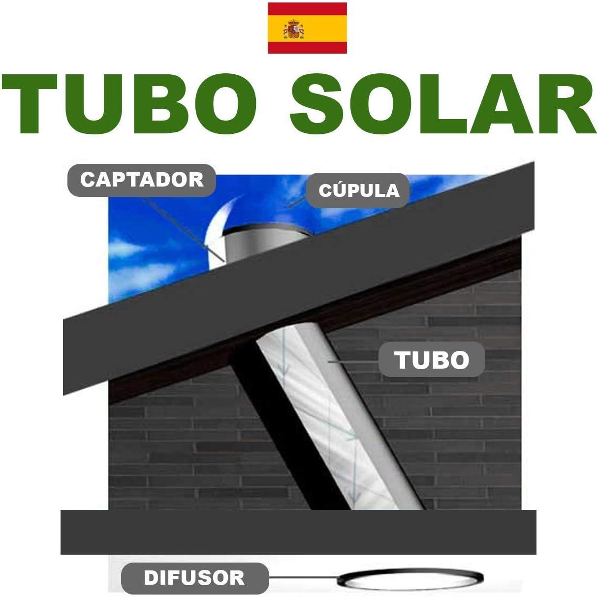 Tubo Solar 24 cm hasta 9-12 m2-4.000 lúmenes.: Amazon.es: Iluminación