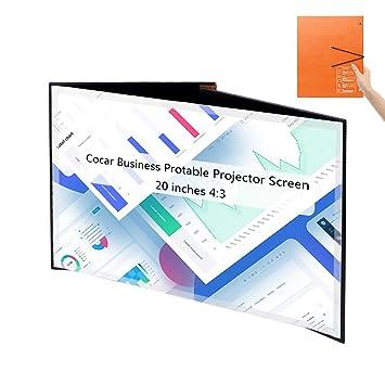 Portátil Proyector Pantalla, Cocar 20 Pulgadas 4: 3 Mesa PVC Plegable Proyección Pantalla para DLP Proyector Inicio Sesión Comercial/Reunión Interior ...