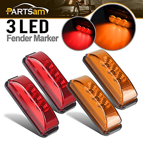 Partsam 2Amber+2Red Front Rear LED Marker Lights 3.9