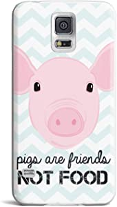 Inspired Cases - 3D Textured Galaxy S5 Case - Rubber Bumper Cover - Protective Phone Case for Samsung Galaxy S5 - Pigs are Friends, Not Food