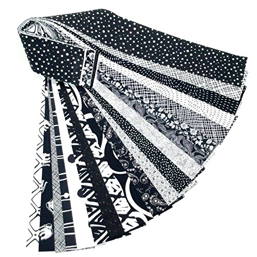 Jelly Roll 20 Cotton Quilting Fabric Strips 2.5 X 43-inch Classic Black and White No Duplicates by Moda, RJR, Andover, Kaufmann, P&B Textiles