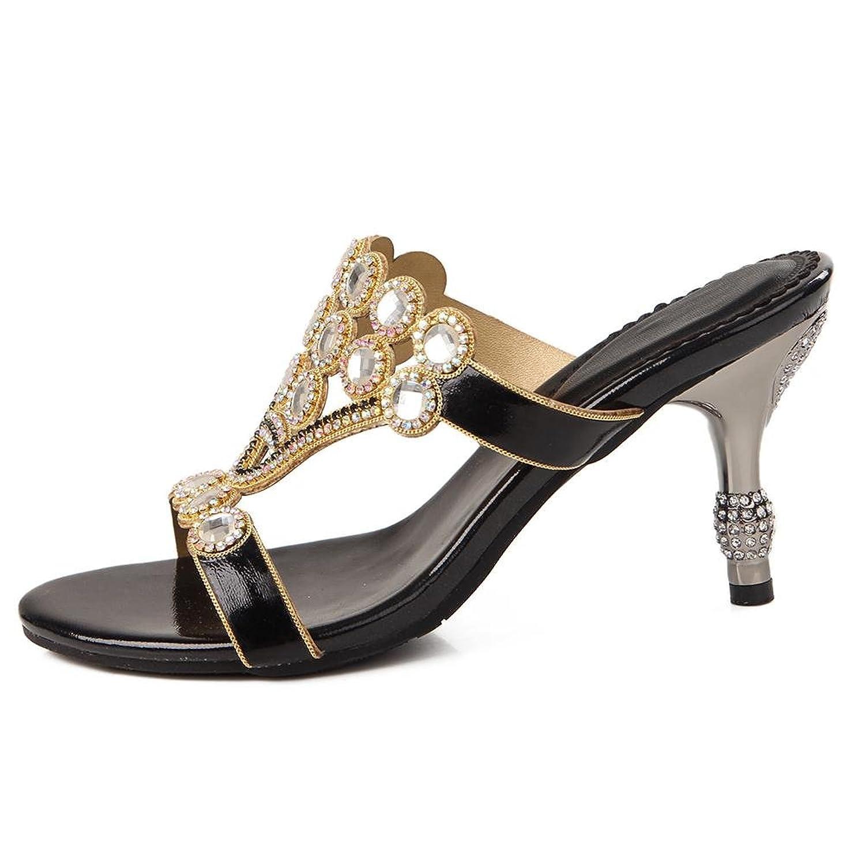 SYYAN Damen PU Strasssteine Offener Zeh Handgemacht Sandalen Flip Flops  Bankett: Amazon.de: Schuhe & Handtaschen