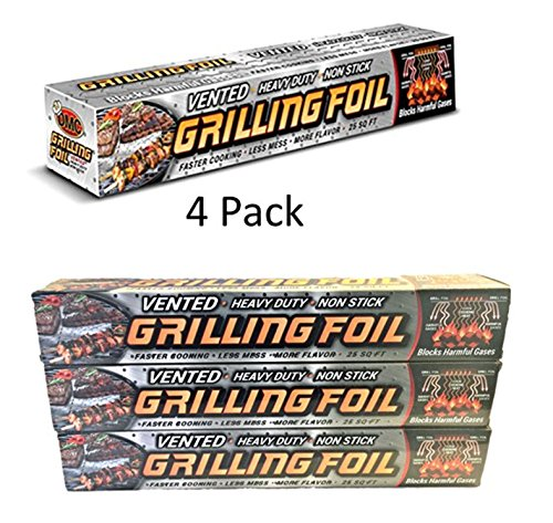 4 Pk - Grilling Foil - Barbecue Accessory Vented with Holes Specifically for Grilling and Steaming, Non-stick Aluminum Tin Foil, Each Roll is 12