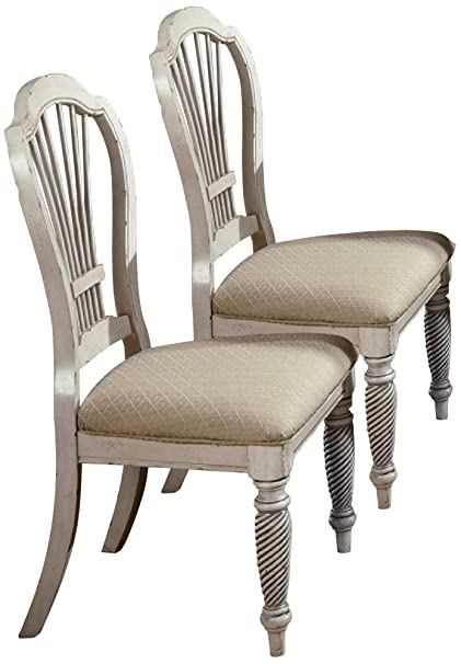 Hillsdale Wilshire Fabric Dining Chair In Antique White (Set Of 2)