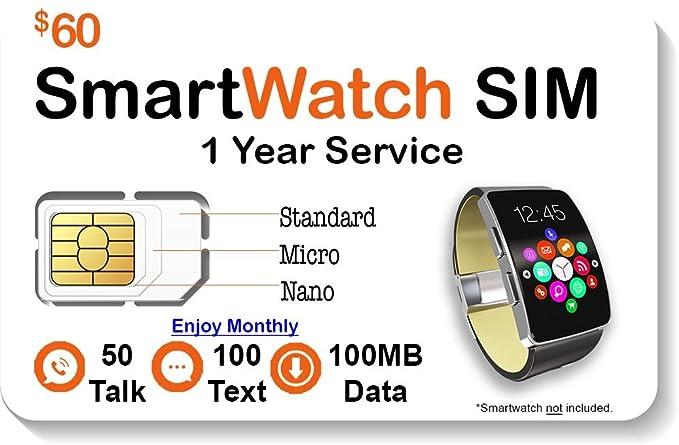 Amazon.com: $60 inteligente reloj Tarjeta SIM – Compatible ...