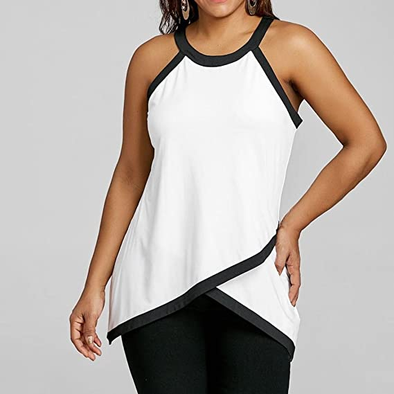 Amazon.com: Womens Oversize Tops, Sacow Lady Girl Fashion Plus Size O-neck Sleeveless Blouse Vest Patchwork Tank Casual Tops Summer/Autumn/Spring (XL): ...