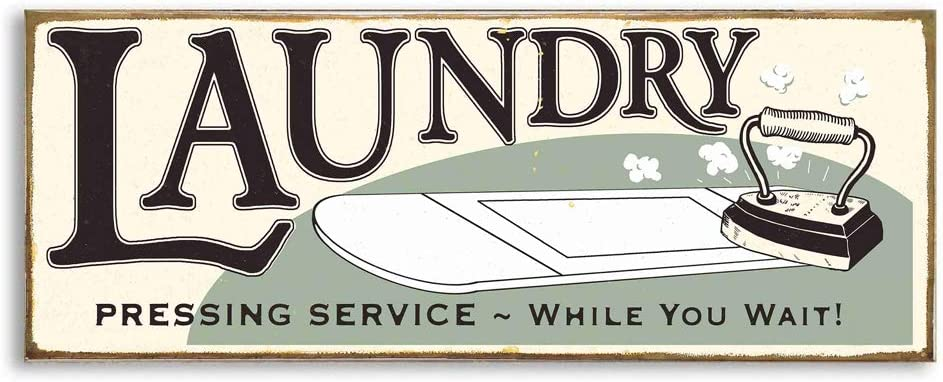 MODE HOME Vintage Laundry Sign for Laundry Room,Funny Laundry Room Sign,Wooden Wall Decor for Laundry Room