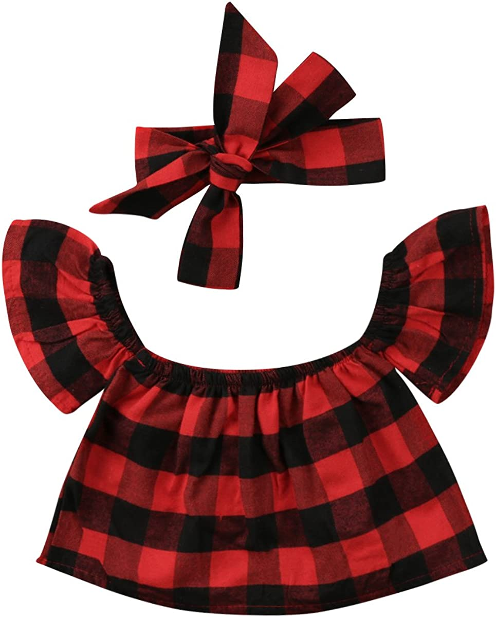 Andannby Toddler Baby Girl Off Shoulder Ruffles Plaids T-Shirt Tops with Headband Outfits Clothes