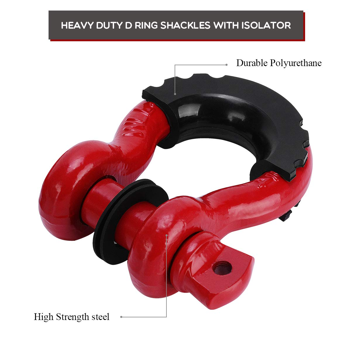 Heavy Duty Red Shackle Kit with Black Isolator Washer for Vehicle Recovery,Towing,Stump Removal Maxiii Shackles 3//4 Inch 2 Pack D Ring Shackle Rugged Off Road Shackles 4.75 Ton 9,500lbs