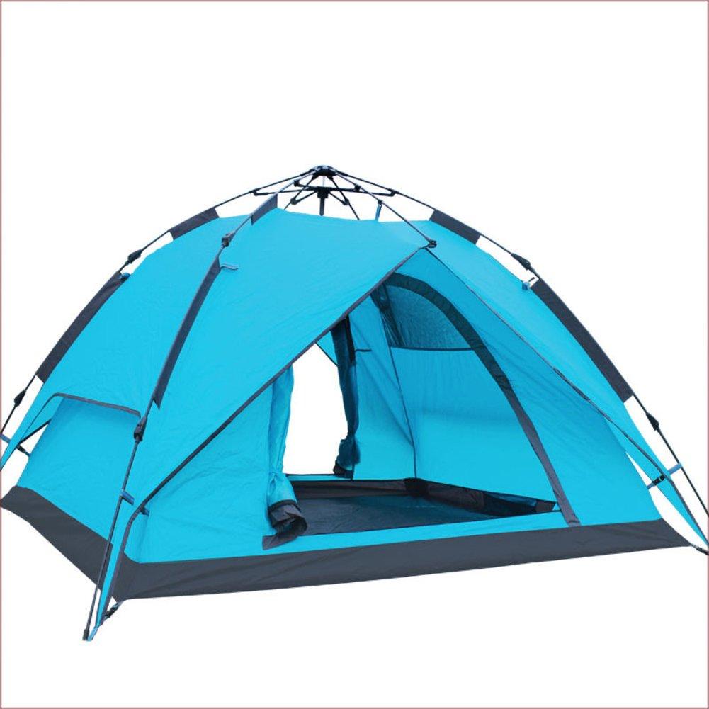 TY&WJ Campingzelt,Vollautomatische Geschwindigkeit Offen Kuppelzelte Double Layer Grillmöglichkeiten Und Grill Tipi Für Outdoor-sportarten Wandern Reise Dual-use 4-jahreszeiten 3-4 Personen
