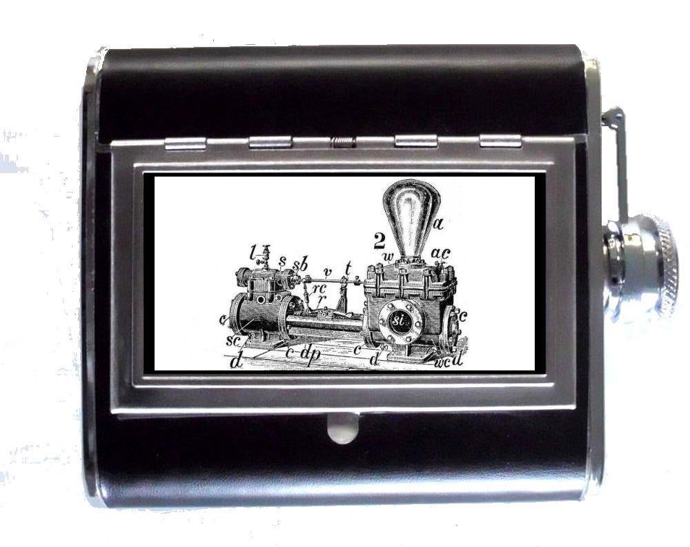 Steampunk Victorian電球ジェネレータB & W : 5ozステンレススチール&レザーヒップフラスコと組み込みシガレットケース B00NALIDUA